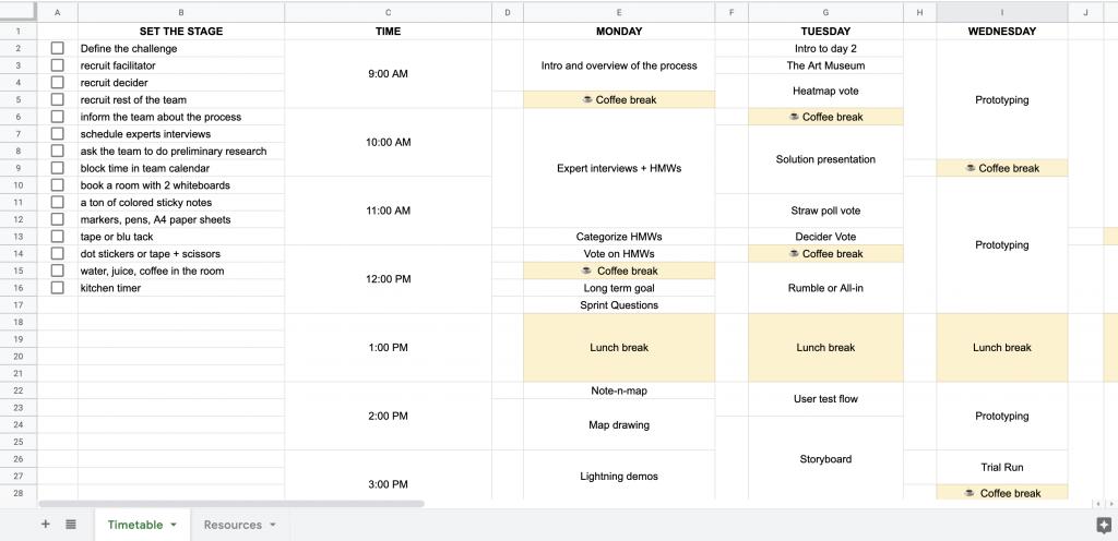 design sprint timetable